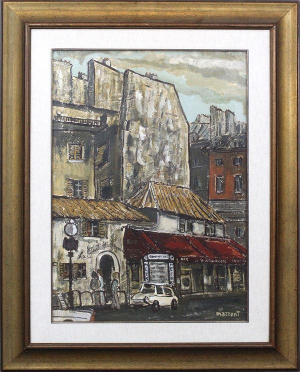 Carlo Mazzoni - Metro Saint Michel, olio su tela, cm 50x70, entro cornice