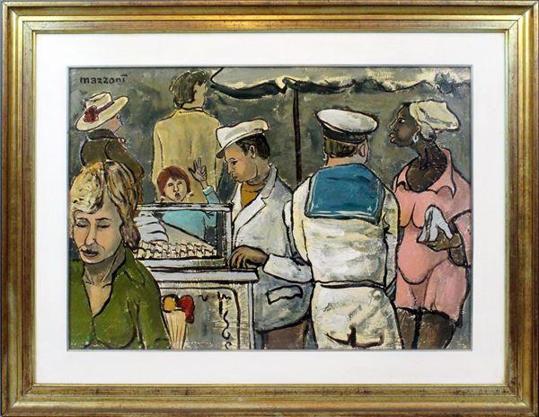 Carlo Mazzoni - Un marinaio a Porta Portese n°8, olio su tela, cm 50x70, entro cornice