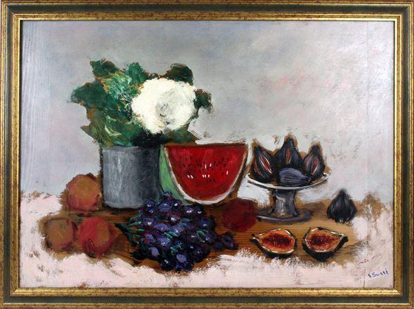 Giuseppe Succi - Natura morta-frutta, olio su tavola, cm 50x70, entro cornice