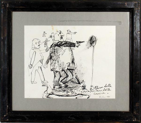 Borghese Franz - Figure, china su carta, cm 31x39, entro cornice