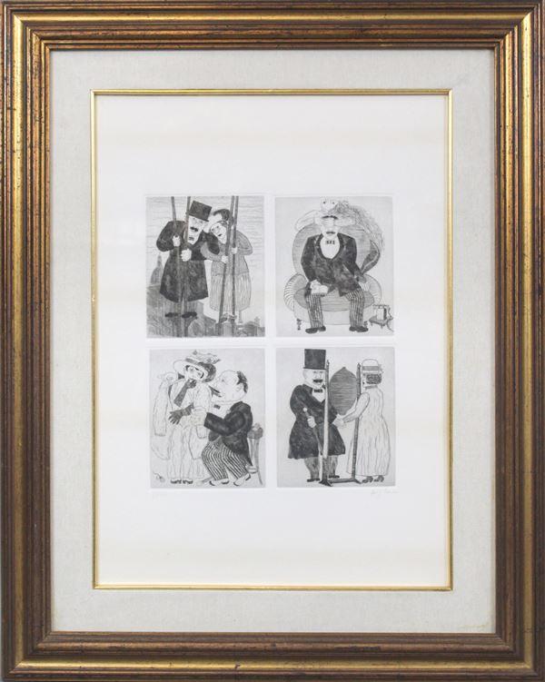Borghese Franz - Incisione a quattro scene diverse, cm 50x35, entro cornice