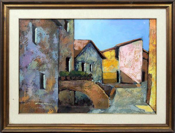 Pietro Vanni - Scorcio di paese, olio su tela, cm 50x70, entro cornice