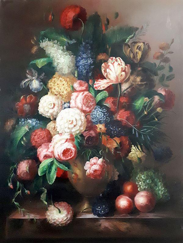 Maniera di Giovanni Stanchi (1608-1675), Vaso con fiori, composizione fiamminga ad olio su tela, cm 120x90, firmato al retro