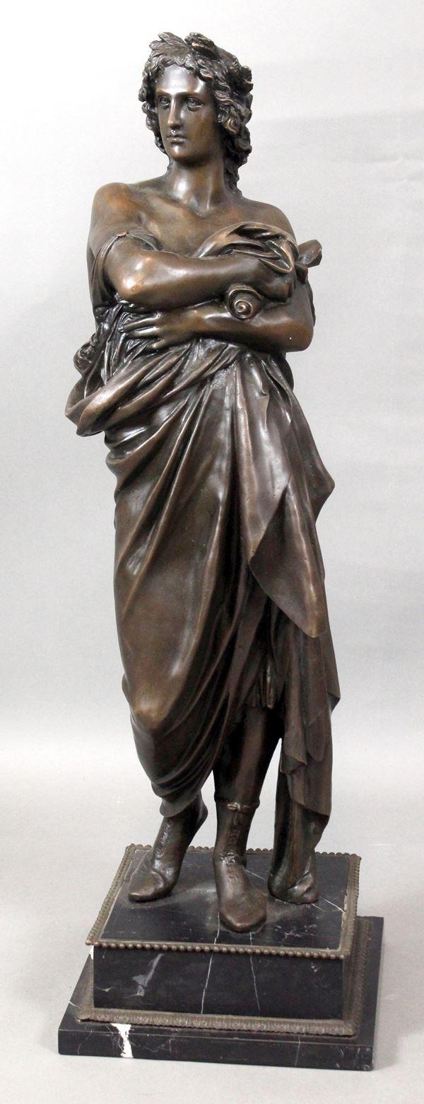 Augusto, scultura in bronzo, altezza max cm. 77, su base in marmo, XX secolo.