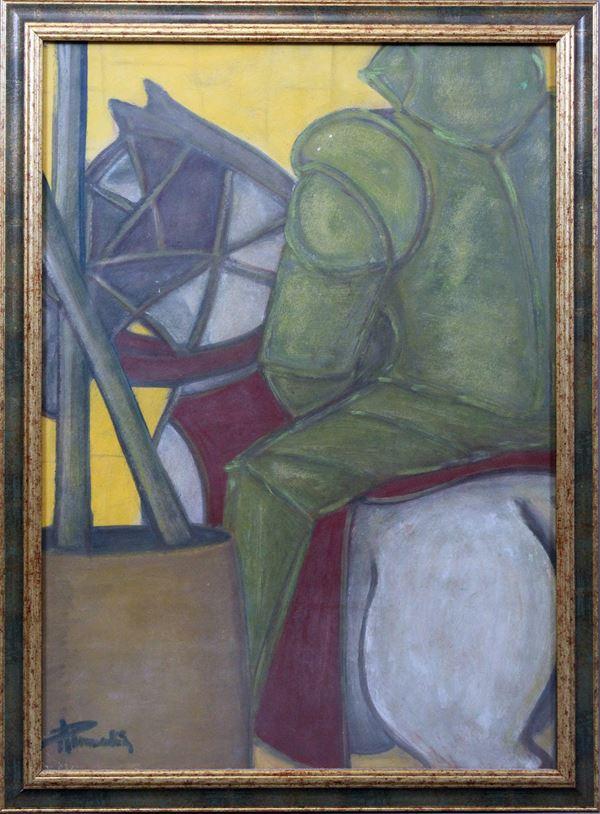 Amleto Pannocchia - Il Cavaliere, olio su cartone, cm 70x50, entro cornice