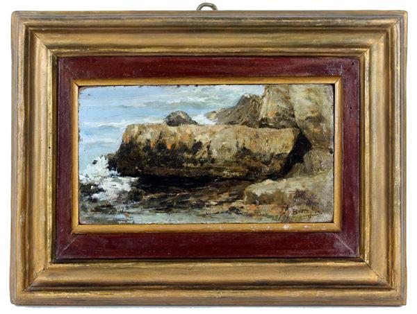 Scoglio-scorcio di costa, olio su tavola, cm. 11x20, firmato Battaglia, entro cornice