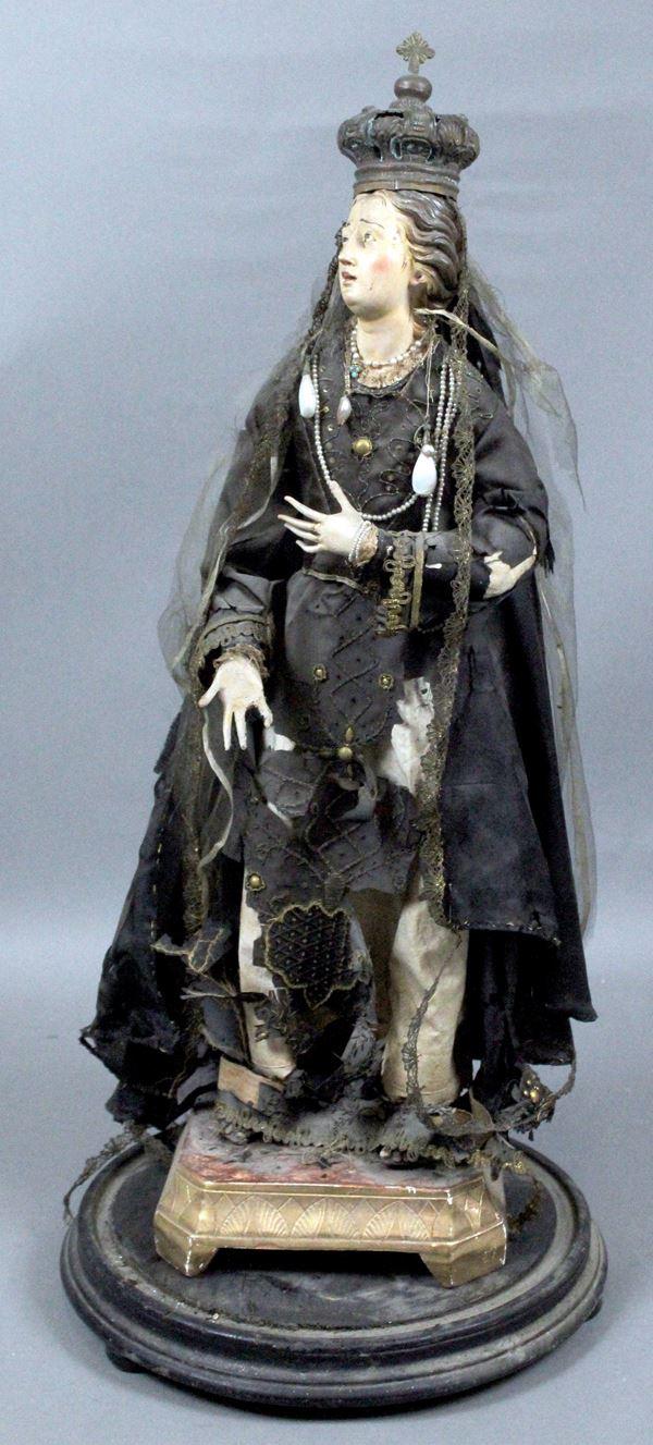 Madonna, scultura in terracotta dipinta in policromia, vesti in tessuto ricamato, altezza cm.67, Napoli, XIX secolo, (difetti).