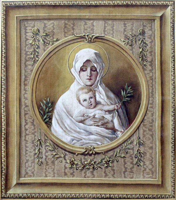 Arazzo raffigurante la Madonna dell'Ulivo, cm. 95x83, firmato, inizi XX secolo.