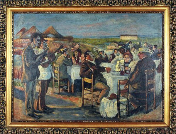 Festa in campagna, olio su cartone, cm. 40x56, XX secolo, entro cornice.