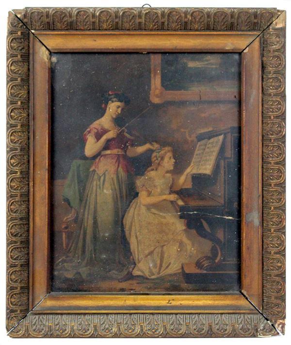 Lezione di musica, olio su cartoncino, cm. 25x20, inizi XX secolo, entro cornice.