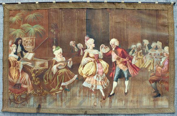Arazzo a succo d'erba raffigurante scena settecentesca, cm. 125x170, inizi XX secolo, (difetti).