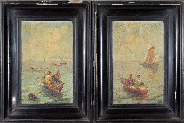 Scuola napoletana, Coppia di marine con imbarcazioni e pescatori, olio su cartone telato, firmate, cm. 32x20, entro cornice.