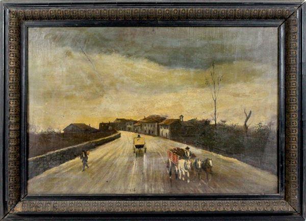 Paesaggio con strada, olio su tavola, cm. 31x45, fine XIX secolo, entro cornice.