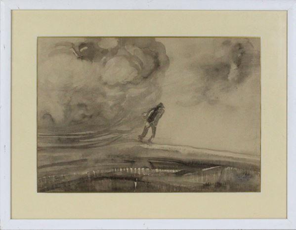 Paesaggio con figura, acquarello su carta, cm. 34x39, firmato, difetti sulla carta, entro cornice.
