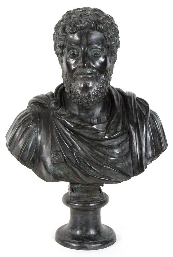 Busto di imperatore - Commodo, scultura in bronzo, altezza cm.53, inizi XX secolo