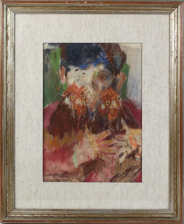 Fausto Pirandello - Ragazzo con galline, tecnica mista su carta, cm.31x22, entro cornice,(privo di autentica).