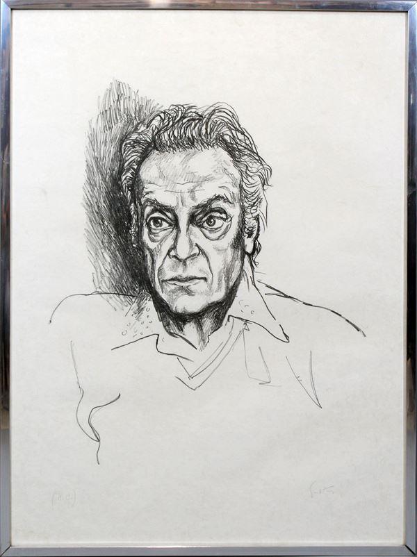 Renato Guttuso - Autoritratto, litografia, cm. 76x56, entro cornice.