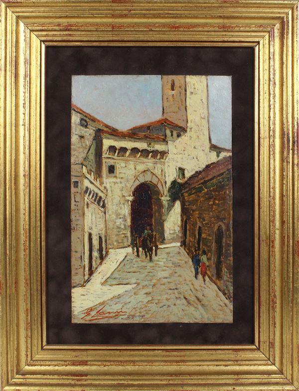 Giovanni  Lomi - Scorcio di paese con carretto e figure, olio su masonite, cm. 32x20,5, entro cornice.