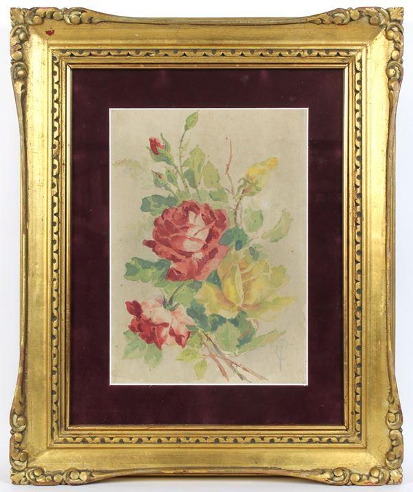 Rose, acquarello su carta, cm. 34x24, siglato, entro cornice.