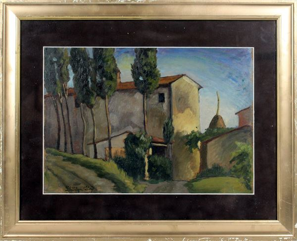 Paesaggio con cascina, olio su tavola, cm. 27x36,5, firmato Llewelyn Lloyd, entro cornice.