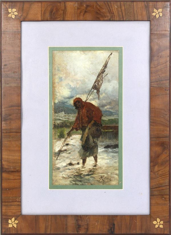 Pescatrice di fiume, olio su tela applicata su tavola, cm. 32,5x17, a firma B. Giuliano (1825-1909), entro cornice.