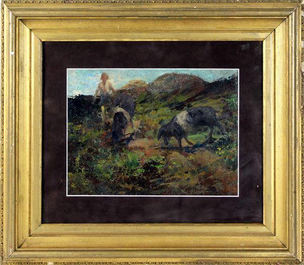 Paesaggio con pastorello e armenti, olio su cartone, cm. 25x33, a firma Beppe Ciardi, entro cornice.