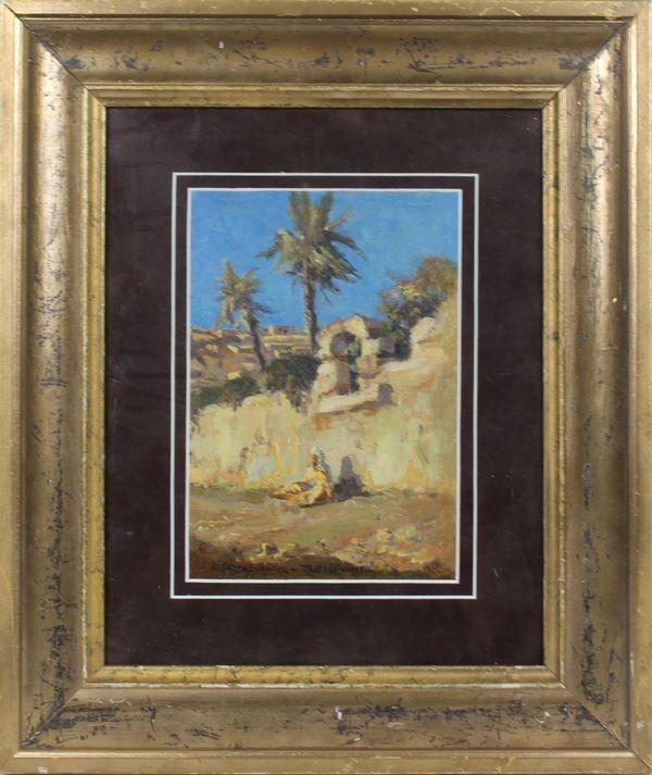Antonio Calcagnadoro - Paesaggio arabo, olio su cartoncino, cm. 25 x 18, firmato e datato Tripoli 1923, entro cornice.