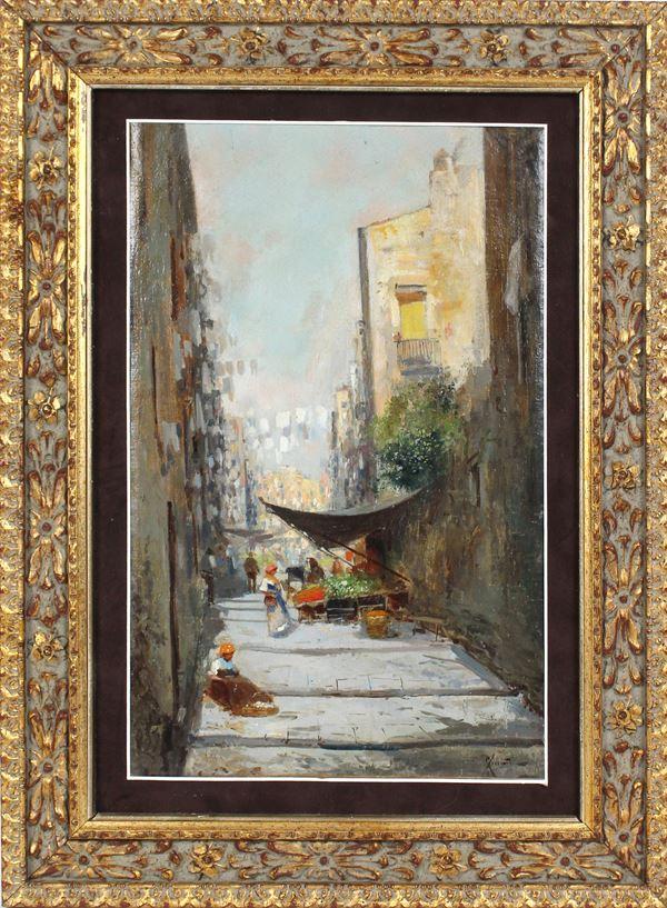 Oscar  Ricciardi - Vicolo napoletano con mercato, olio su tela, cm. 42x29, entro cornice.