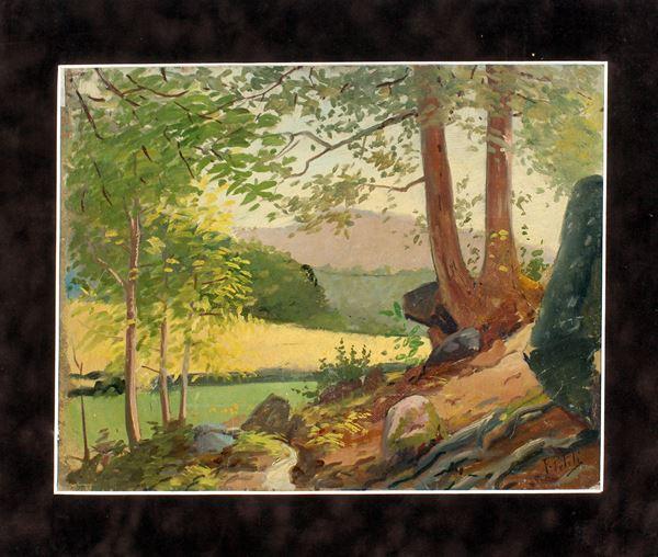 Paesaggio fluviale con alberi, olio su cartoncino, cm. 27x34, a firma F. Petiti.