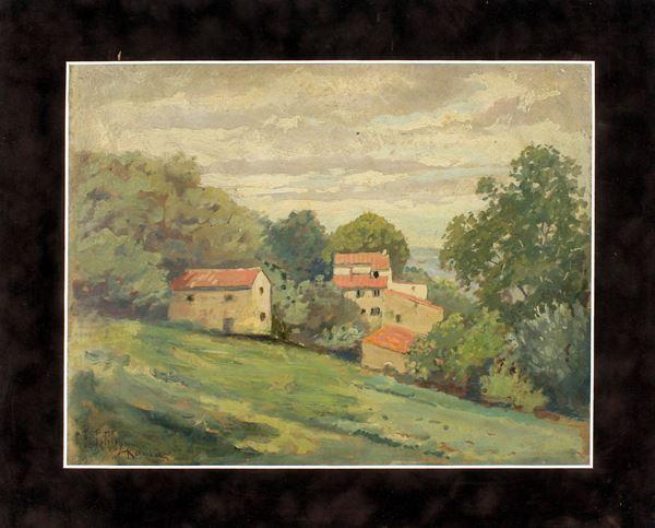 Paesaggio con case, olio su cartoncino, cm. 27x35, a firma F. Petiti.