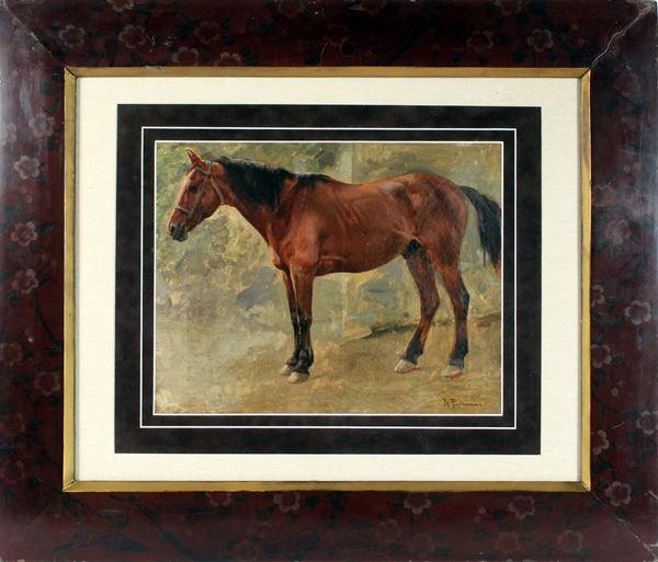 Cavallo, olio su tela, cm. 32x42, firmato R. Panerai, entro cornice.