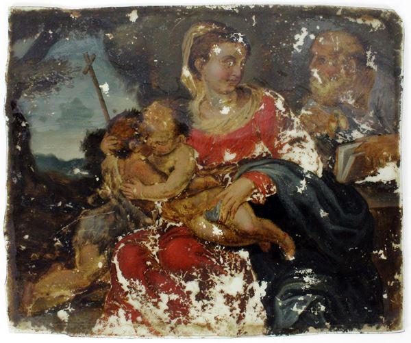Pittore emiliano del XVII secolo, Sacra famiglia con San Giovannino, olio su vetro, cm. 21,5x27 circa.