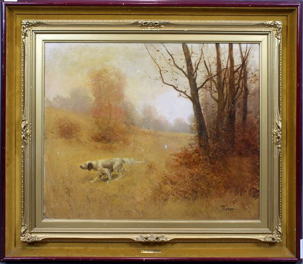 Federico Rossano - Paesaggio con cane da caccia, olio su tela, cm 54x65, entro cornice, (difetti)