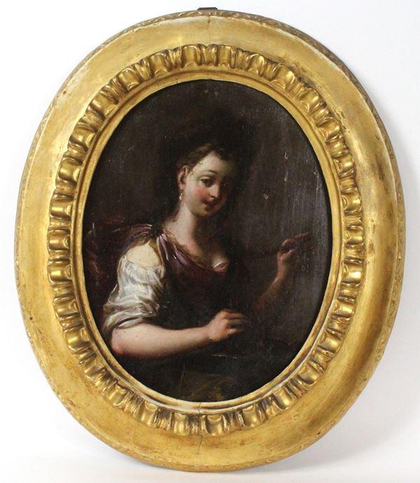 Antonio Amorosi - Ritratto di fanciulla, olio su tavola ad assetto ovale, cm.33x25,5
