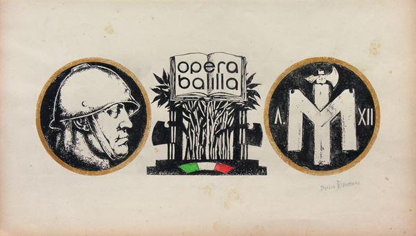 Duilio  Bottari - Propaganda fascista - Opera Balilla, tempera su carta, cm 44x24, firmato, entro cornice