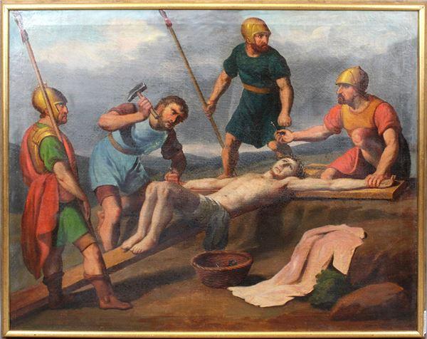 Scuola francese del XVIII secolo, Gesù inchiodato alla croce, olio su tela, cm.80x100, entro cornice.