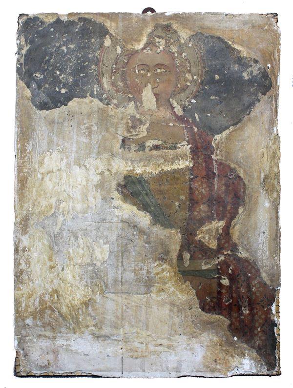 Affresco del XIV secolo raffigurante Santa, frammento strappato, cm. 85x61.
