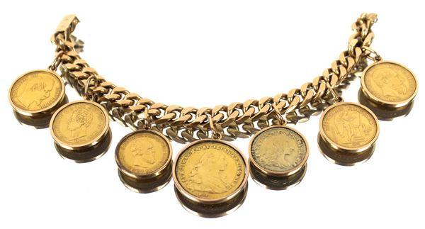 Bracciale in oro 18 kt con applicate a ciondolo 7 monete di epoche diverse, gr. 119,3