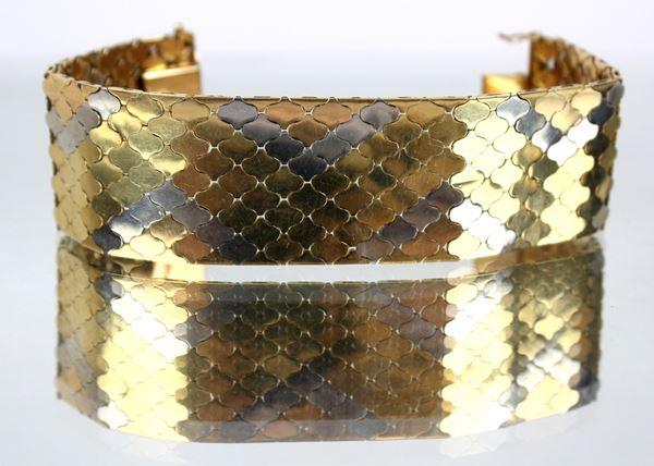 Bracciale semirigido a fascia larga in oro 18 kt a tre colori,  cm.3, gr. 86,4