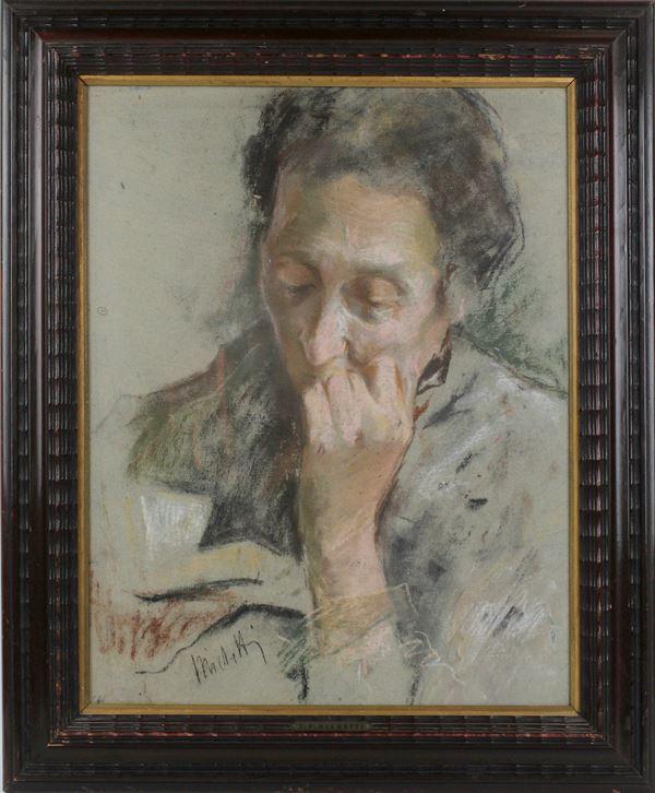 Francesco Paolo Michetti - Ritratto di Signora, tecnica mista su carta, cm. 49x39, entro cornice