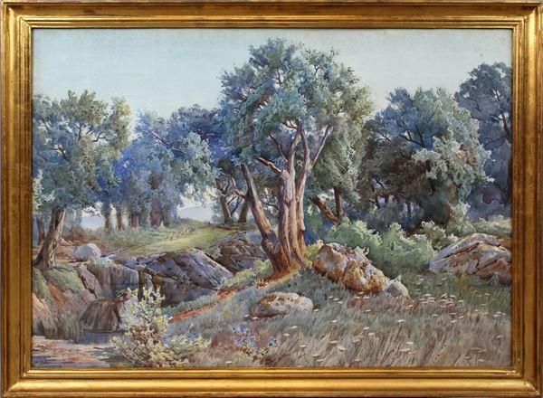 Ettore Roesler Franz - Paesaggio boschivo, acquarello su carta, cm. 65x90, entro cornice.