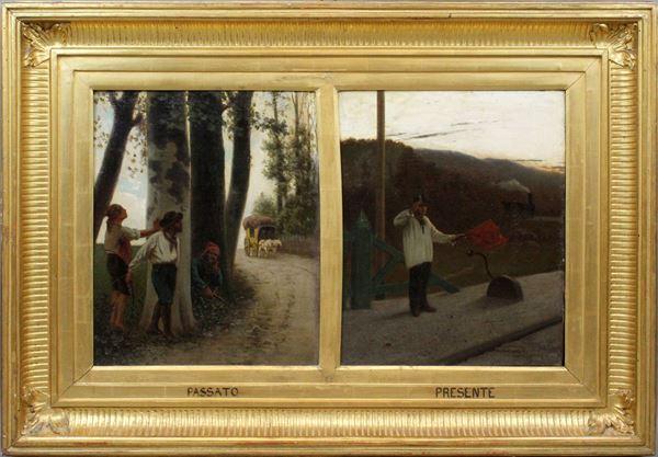Luigi Steffani - Passato e presente, olio su tela, cm. 40x68,5, entro cornice.