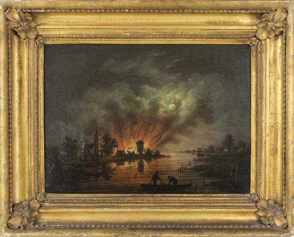 Pittore fiammingo, Paesaggio notturno con incendio, olio su tela, cm. 30x40,5, fine XVIII-inizi XIX secolo, entro cornice.
