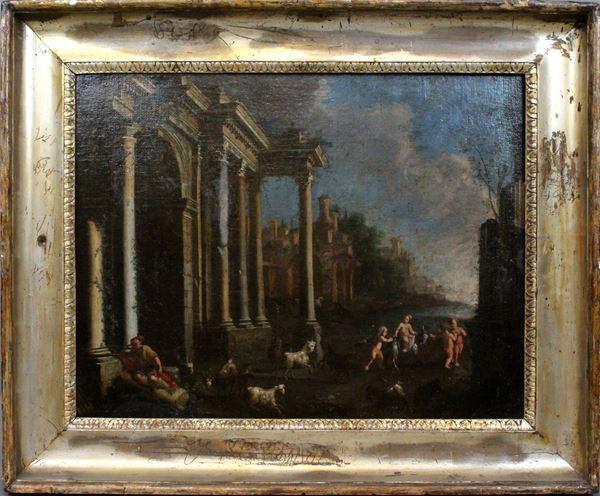 Giovanni Paolo Pannini - (Attribuito) Architetture con scena di gioco di putti con capre, olio su tela, cm 46 x 60 , cornice del XIX secolo in legno dorato a mecca