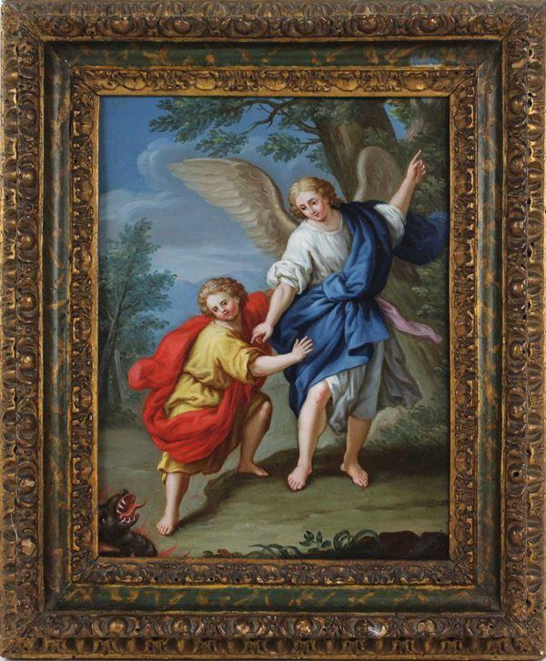 Scuola Italiana del XVIII-XIX secolo, Tobiolo e l'angelo, olio su rame, cm 23,5 x 18, cornice coeva in legno intagliato, dorato e laccato
