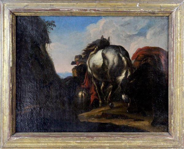 Johann Melchior Roos - (Attribuito), Paesaggio con cavallo e asino, olio su tela, cm 37 x 49, entro cornice antica.