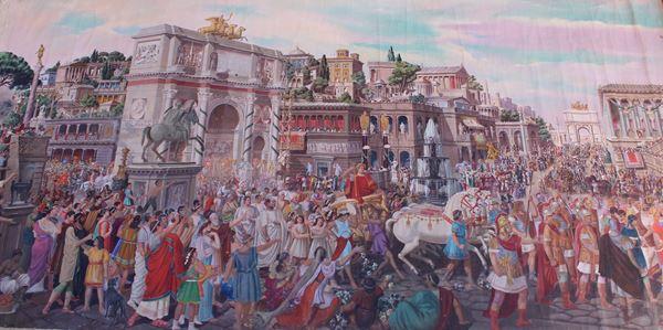 Francescangeli Enrico, Marcia trionfale su Roma, olio magro su tela, cm 588x280.